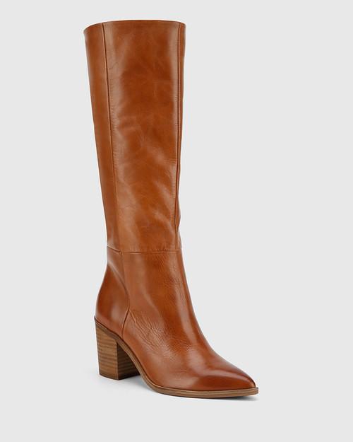 Preslee Cognac Leather Block Heel Long Boot. & Wittner & Wittner Shoes