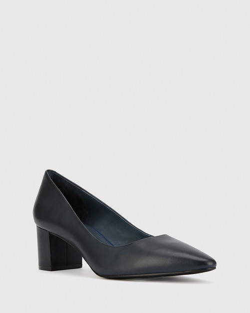 Liona Navy Leather Pointed Toe Mid Heel