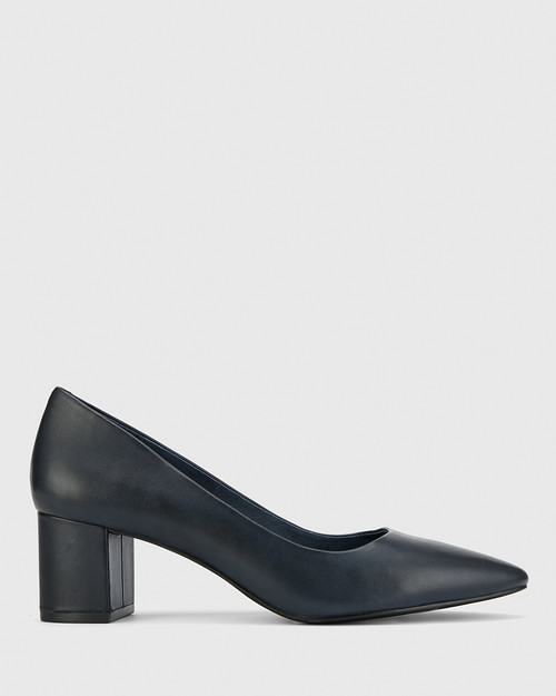 Liona Navy Leather Pointed Toe Mid Heel.