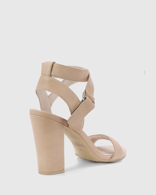 Ralexx Nude Leather Open Toe Block Heel.