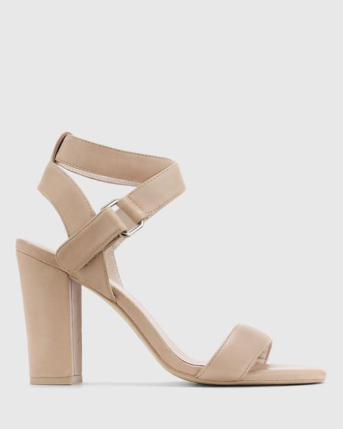 Ralexx Nude Leather Open Toe Block Heel