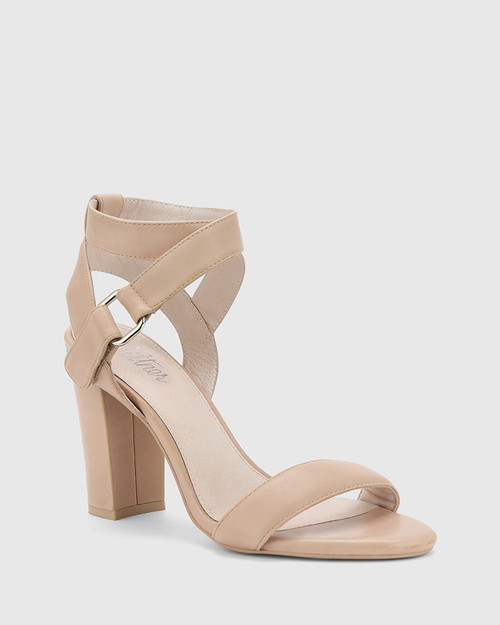 Ralexx Nude Leather Open Toe Block Heel.