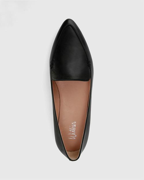 Packhamm Black Leather Pointed Toe Loafer. & Wittner & Wittner Shoes