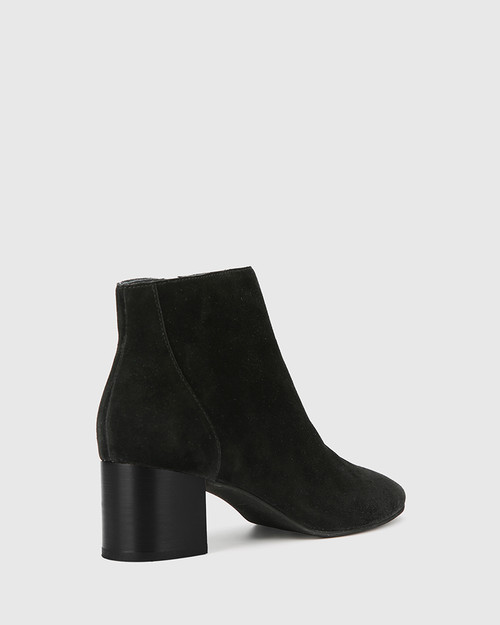 Alsen Black Suede Block Heel Almond Toe Ankle Boot