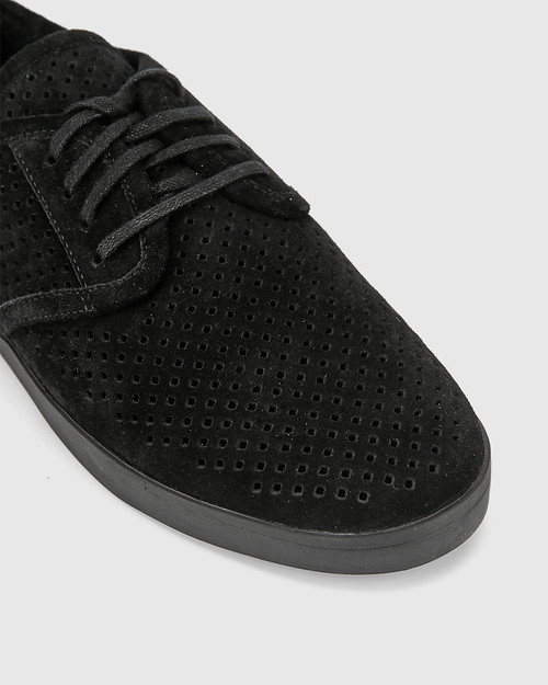 Alara Black Suede Leather Lace Up Sneaker.