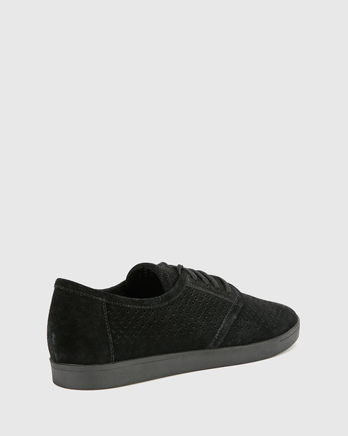 Alara Black Suede Leather Lace Up Sneaker