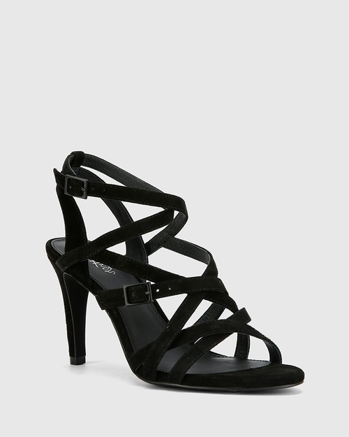 Remo Black Suede Leather Strappy Stiletto Heel Sandal. & Wittner & Wittner Shoes