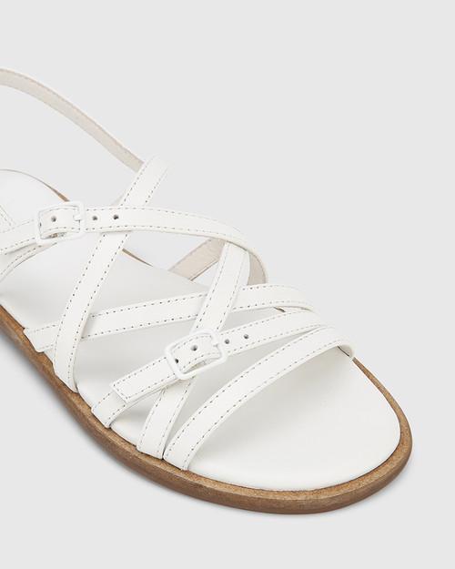 Cordelia White Leather Buckle Strap Flat Sandal. & Wittner & Wittner Shoes