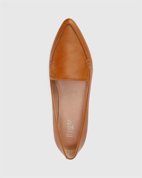 Packhamm Tan Leather Pointed Toe Flat. & Wittner & Wittner Shoes