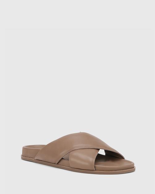 Brooks Mocha Leather Crossed Straps Slide. & Wittner & Wittner Shoes