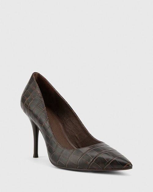 Hughes Chocolate Crocodile Embossed Leather Pointed Toe Stiletto Heel.