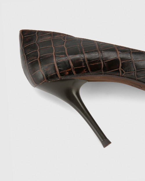 Hughes Chocolate Croc-Embossed Leather Pointed Toe Stiletto Heel & Wittner & Wittner Shoes