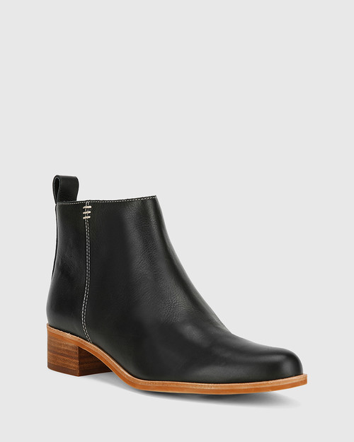 Glover Black Leather Flat Almond Toe Ankle Boot
