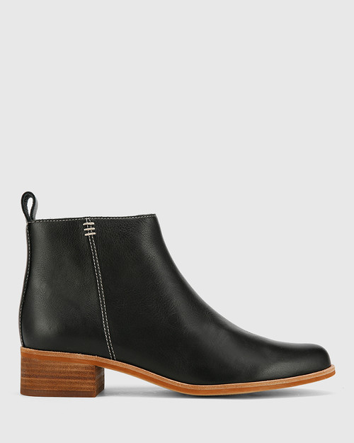 Glover Black Leather Flat Almond Toe Ankle Boot .