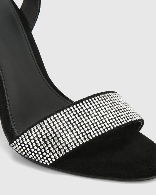 Ash Black Suede Diamonte Detail Strappy Stiletto Heel. & Wittner & Wittner Shoes