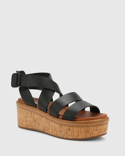 Rudd Black Leather Flatform Sandal.