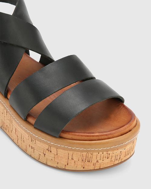 Rudd Black Leather Flatform Sandal. & Wittner & Wittner Shoes