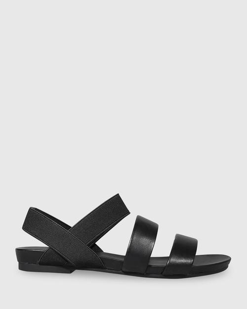 Lillis Black Leather & Elastic Flat Sandal. & Wittner & Wittner Shoes