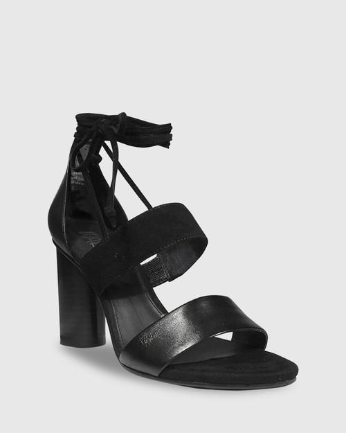 Rolland Black Leather & Suede Block Heel Sandal.