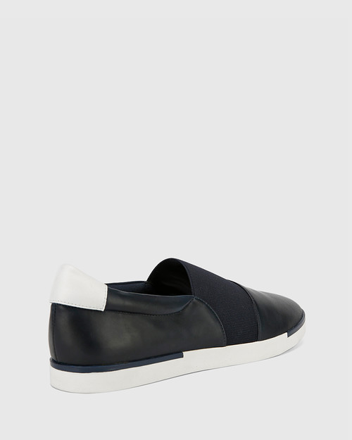 Ashton Navy Leather Elastic Gusset Slip On Flat.