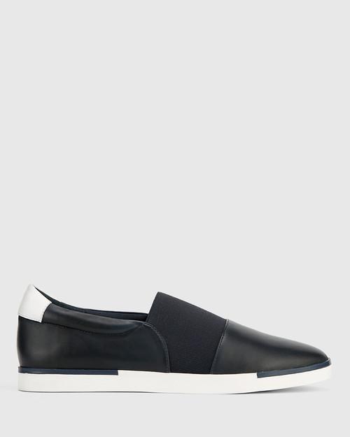 Ashton Navy Leather Elastic Gusset Slip On Flat