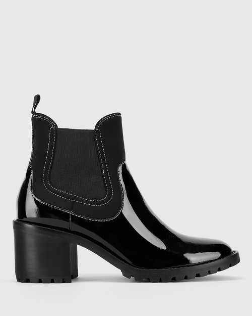 Blair Black Patent Leather Stretch Gusset Round Toe Ankle Boot.