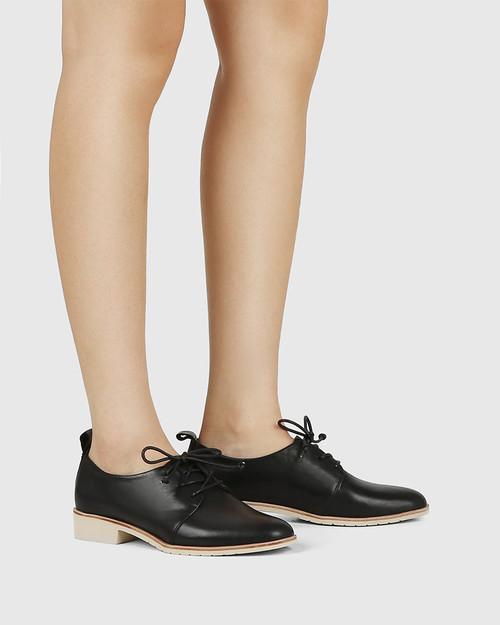 Jodi Black Leather Lace Up Brogue