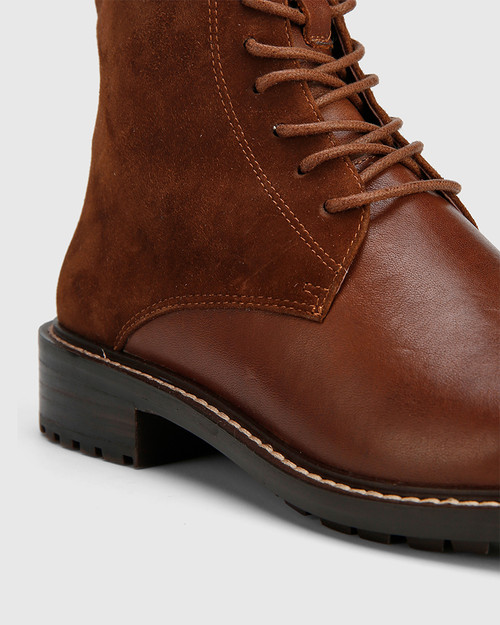 Dean Brown Suede Leather Lace Up Flat Boot. & Wittner & Wittner Shoes