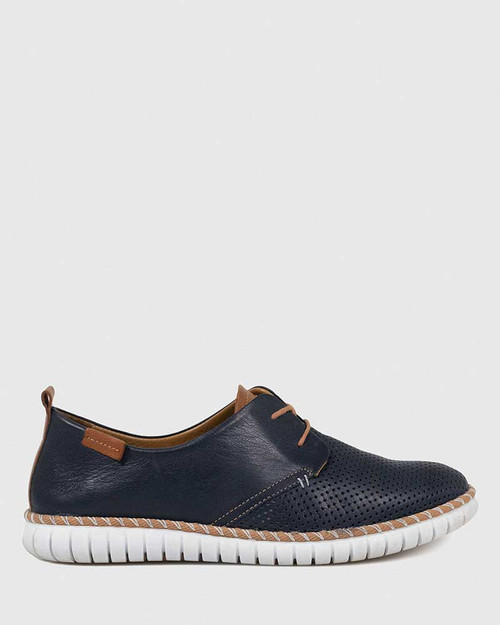 Bryleigh Navy Leather Lace Up Sneaker