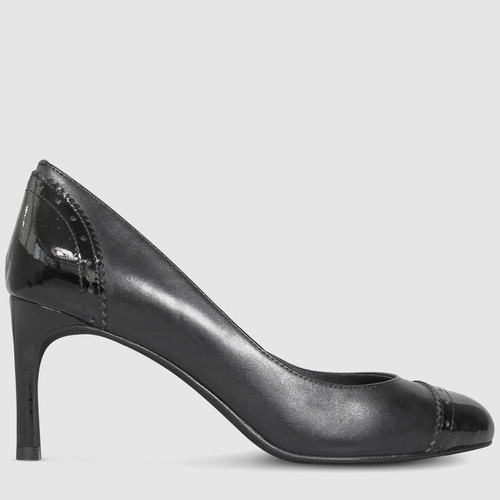 Ridley Black Leather Perforated Patent Toe Cap Heel