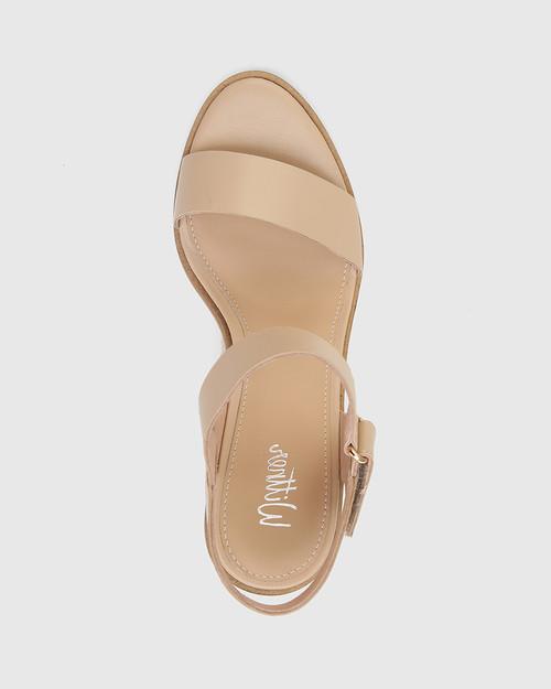 Finity Ecru Nappa Leather Block Heel Sandal.