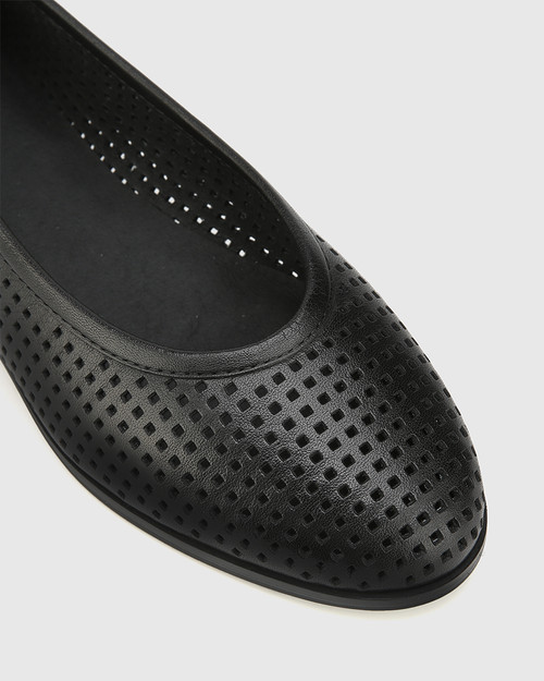 Coraline Black Perforated Leather Stack Heel Flat. & Wittner & Wittner Shoes