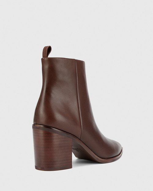 Pearce Chocolate Leather Block Heel Ankle Boot