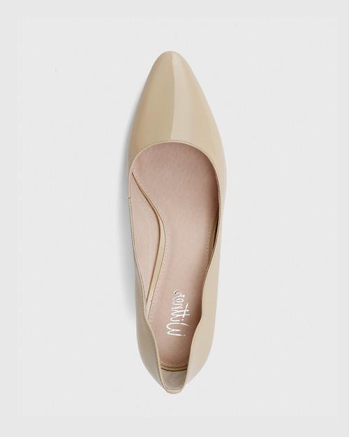 Lynn Honey Patent Almond Toe Block Heel. & Wittner & Wittner Shoes