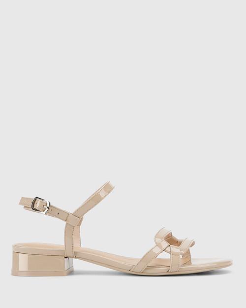 Brigita New Flesh Patent Leather Block Heel Sandal. & Wittner & Wittner Shoes