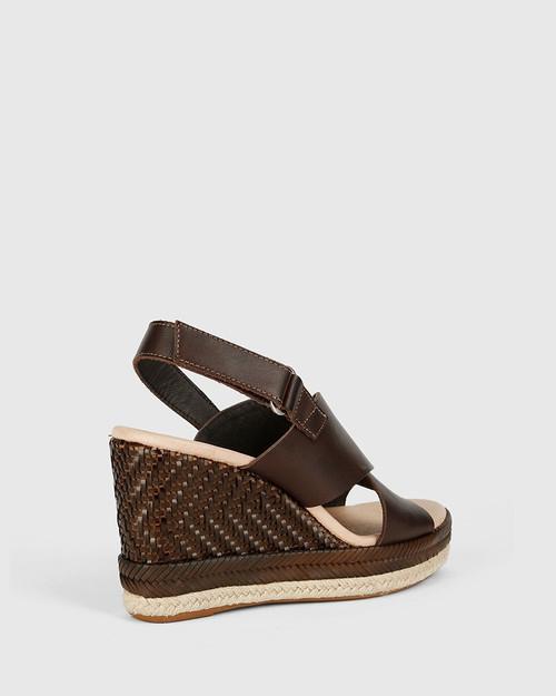 Violas Chocolate Brown Leather Slingback Wedge. & Wittner & Wittner Shoes