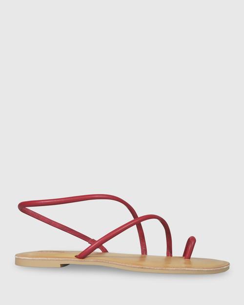 Flinton Red Leather Open Toe Flat Sandal. & Wittner & Wittner Shoes