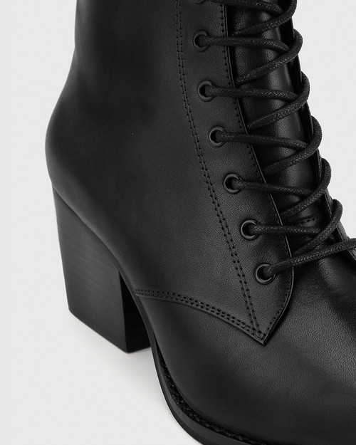 Kallie Black Leather Pointed Toe Lace Up Block Heel Ankle Boot. & Wittner & Wittner Shoes