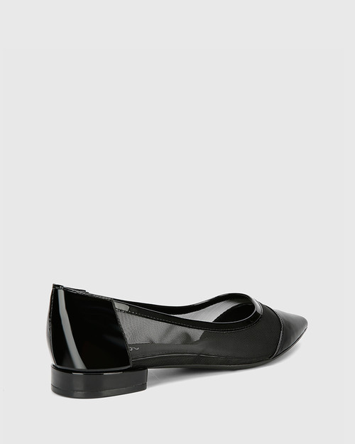 Malyn Black Patent Mesh Cut Out Pointed Flat. & Wittner & Wittner Shoes