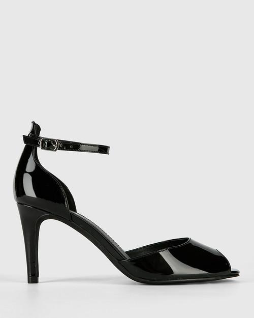 Inka Black Patent Leather Stiletto Heel Sandal. & Wittner & Wittner Shoes