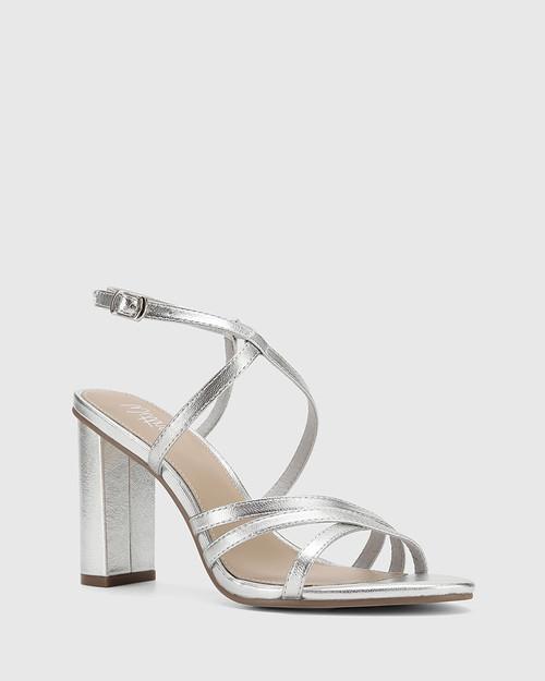 Roosevelt Silver Leather Blocked Heel Strappy Sandal.