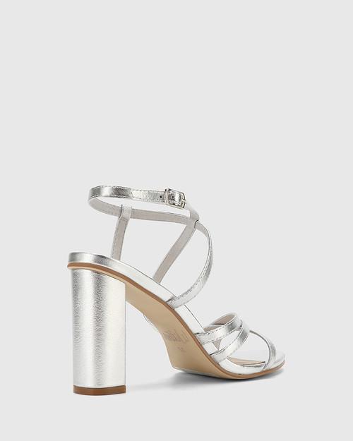 Roosevelt Silver Leather Blocked Heel Strappy Sandal. & Wittner & Wittner Shoes