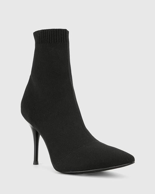 Honor Black Knit Stiletto Heel Ankle Boot. & Wittner & Wittner Shoes