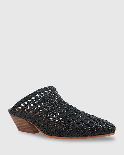 Kelsey Black Woven Pointed Toe Block Heel Mule.