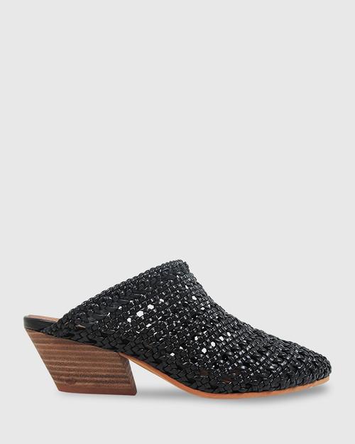 Kelsey Black Woven Pointed Toe Block Heel Mule. & Wittner & Wittner Shoes