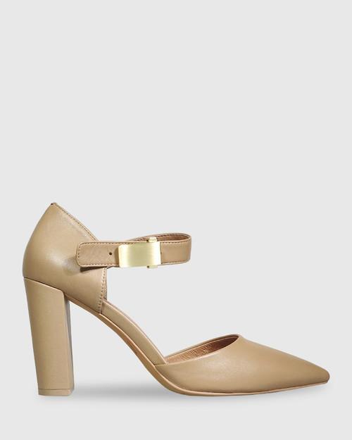 Heide Taupe Leather Pointed Toe Block Heel. & Wittner & Wittner Shoes