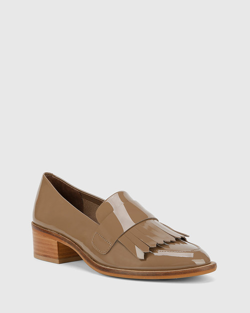 Fernley Mocha Patent Almond Toe Loafer.
