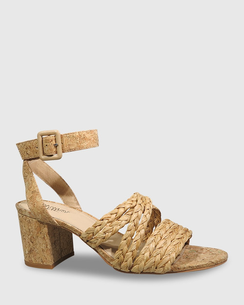 Nalani Natural Raffia Weave & Cork Sandal. & Wittner & Wittner Shoes