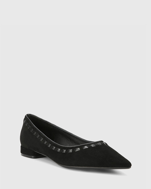 Mallory Black Suede Leather Pointed Toe Loafer.