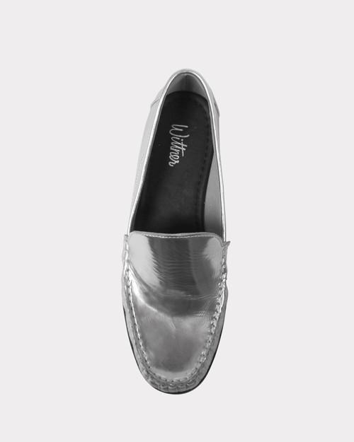 Emery Silver Leather Moccasin Style Loafer.
